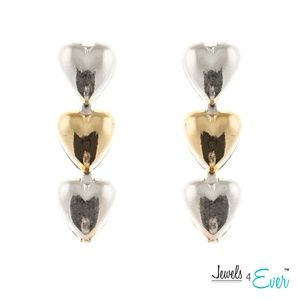 Three Hearted Gold Plated Sterling Silver Earrings